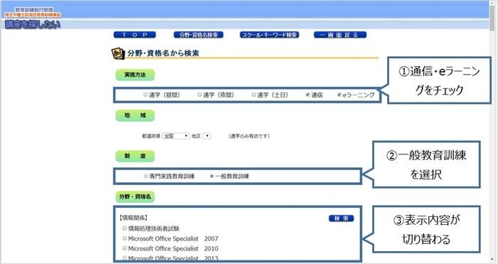 教育訓練給付制度の検索システムの検索条件