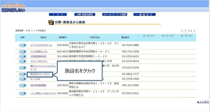 育訓練給付制度の検索システムの検索結果